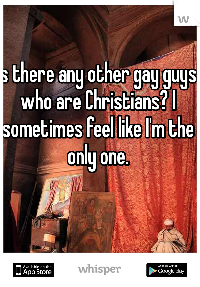 Is there any other gay guys who are Christians? I sometimes feel like I'm the only one.