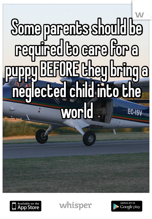 Some parents should be required to care for a puppy BEFORE they bring a  neglected child into the world