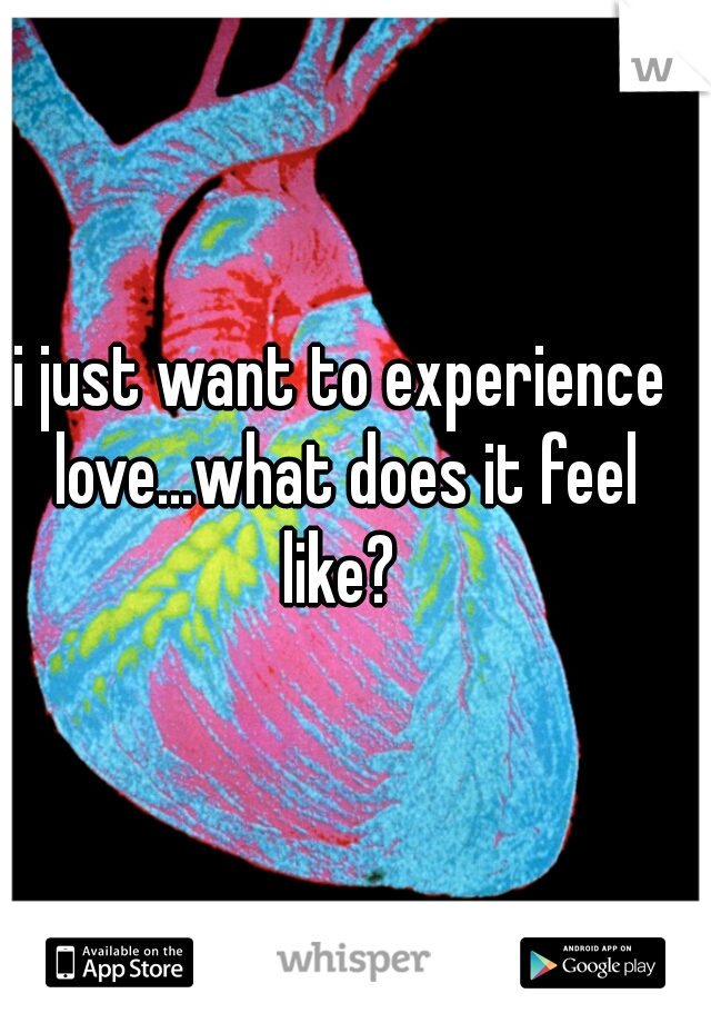 i just want to experience love...what does it feel like?