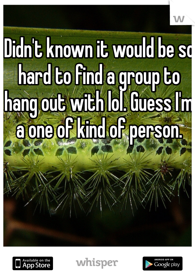 Didn't known it would be so hard to find a group to hang out with lol. Guess I'm a one of kind of person.