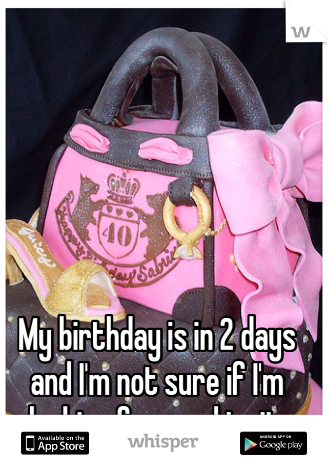 My birthday is in 2 days and I'm not sure if I'm looking forward to it.
