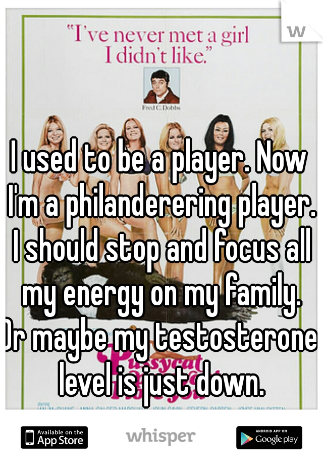 I used to be a player. Now I'm a philanderering player. I should stop and focus all my energy on my family. Or maybe my testosterone level is just down.