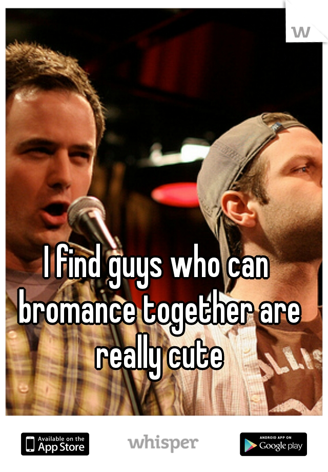 I find guys who can bromance together are really cute