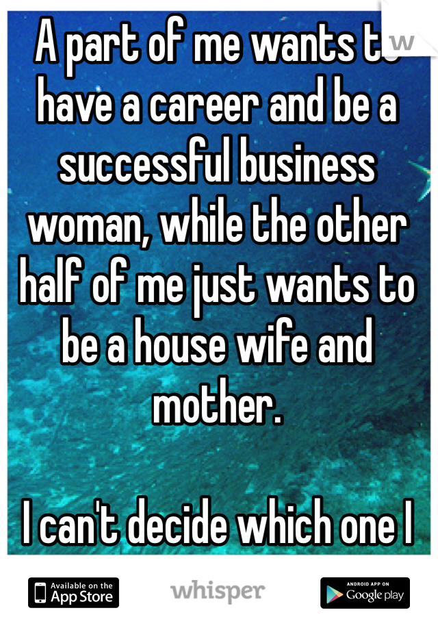 A part of me wants to have a career and be a successful business woman, while the other half of me just wants to be a house wife and mother.  I can't decide which one I want more.