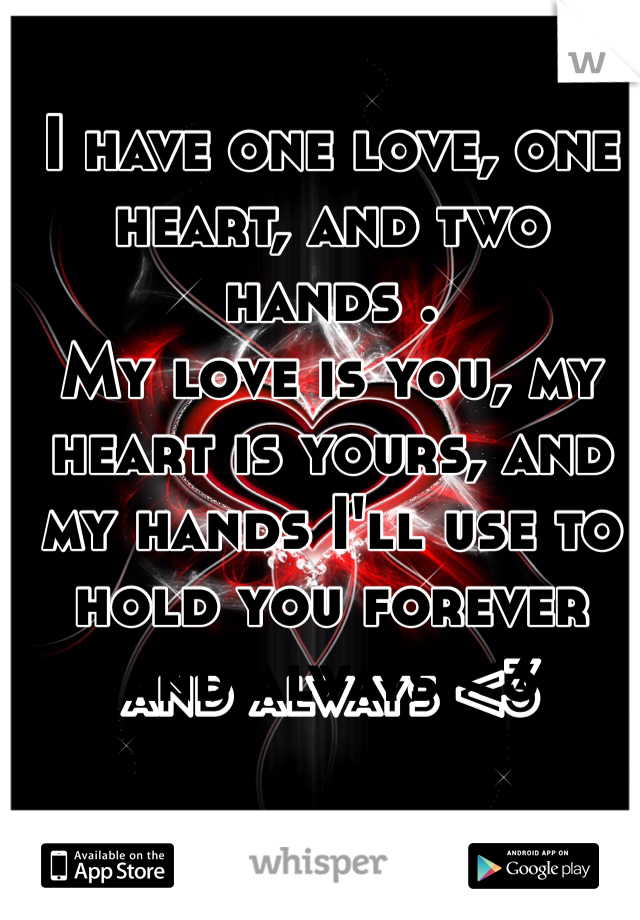 I have one love, one heart, and two hands . My love is you, my heart is yours, and my hands I'll use to hold you forever and always <3