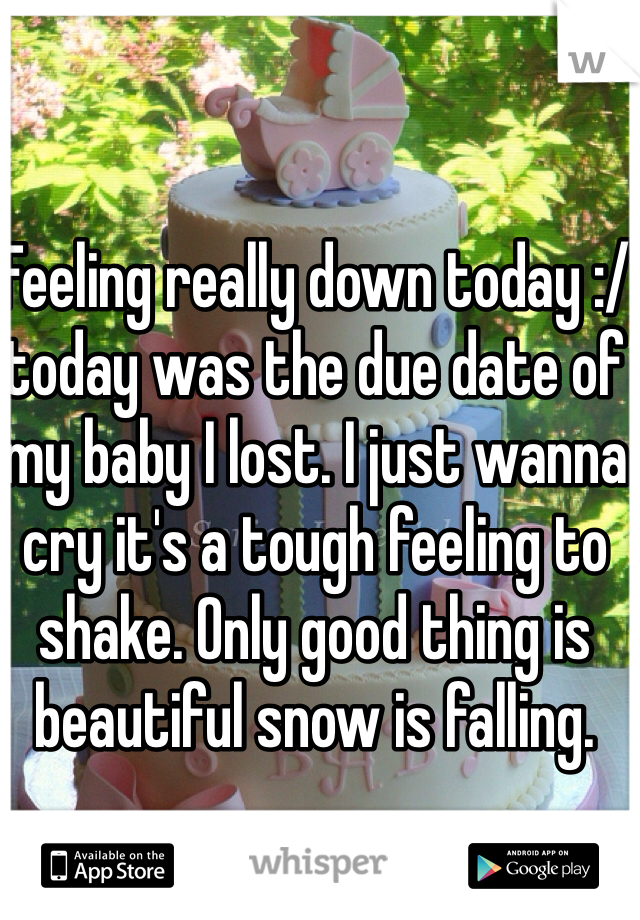 Feeling really down today :/ today was the due date of my baby I lost. I just wanna cry it's a tough feeling to shake. Only good thing is beautiful snow is falling.