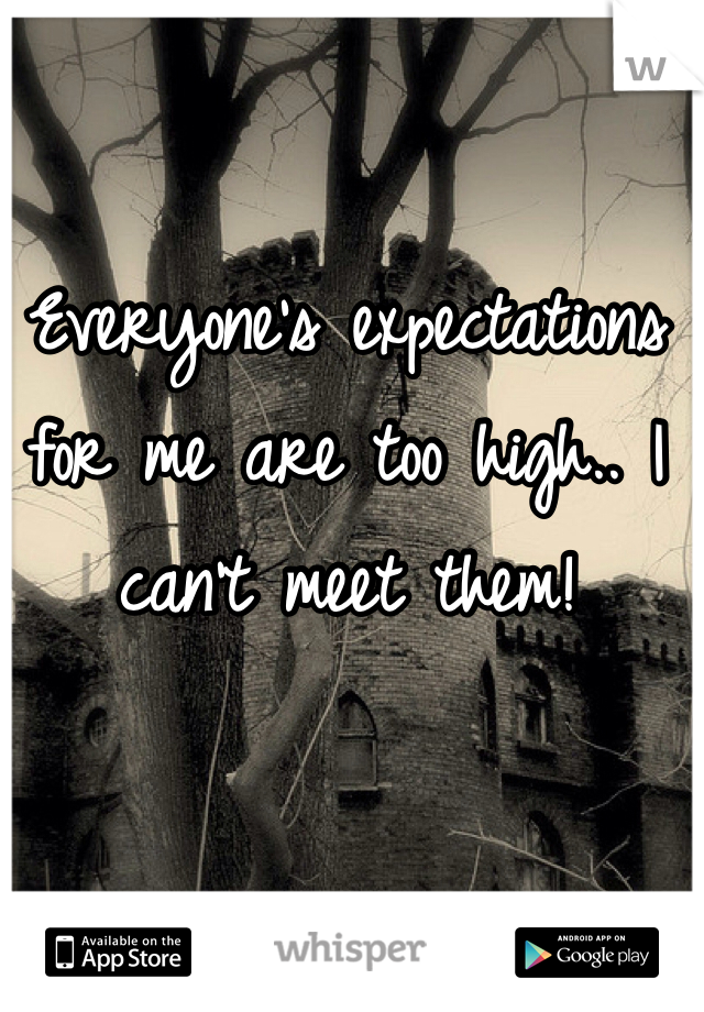 Everyone's expectations for me are too high.. I can't meet them!