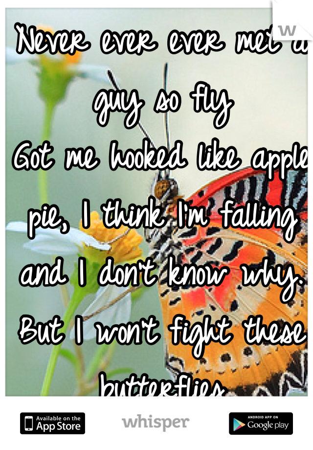 Never ever ever met a guy so fly Got me hooked like apple pie, I think I'm falling and I don't know why. But I won't fight these butterflies