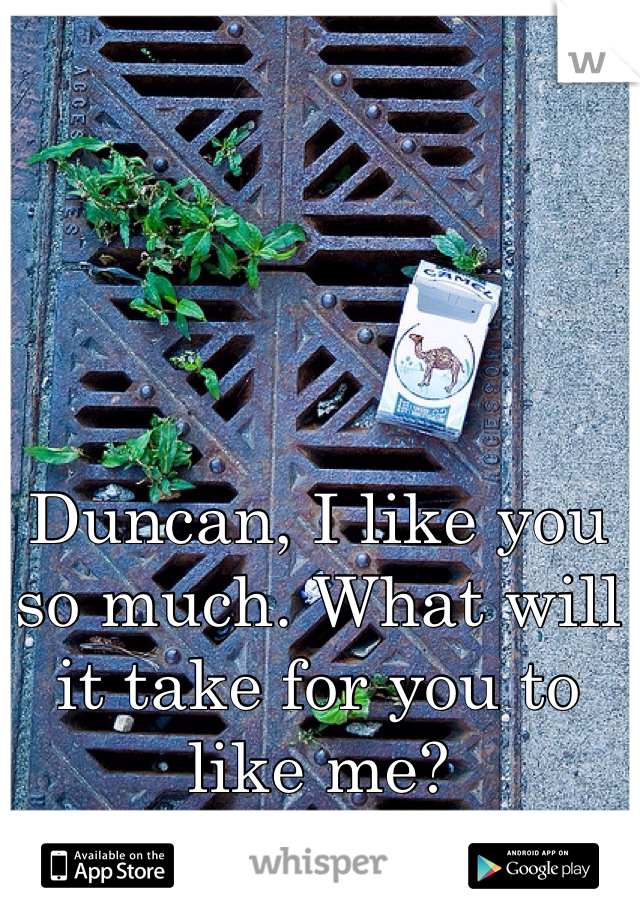 Duncan, I like you so much. What will it take for you to like me?