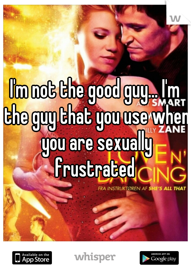 I'm not the good guy... I'm the guy that you use when you are sexually frustrated