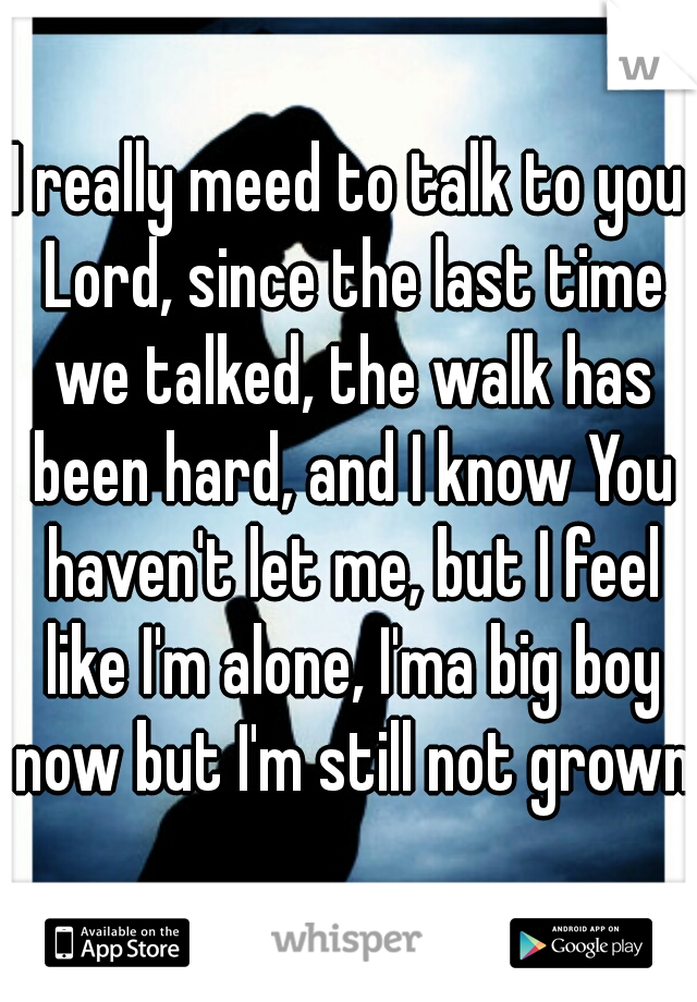I really meed to talk to you Lord, since the last time we talked, the walk has been hard, and I know You haven't let me, but I feel like I'm alone, I'ma big boy now but I'm still not grown