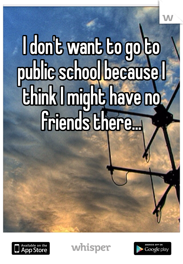 I don't want to go to public school because I think I might have no friends there...