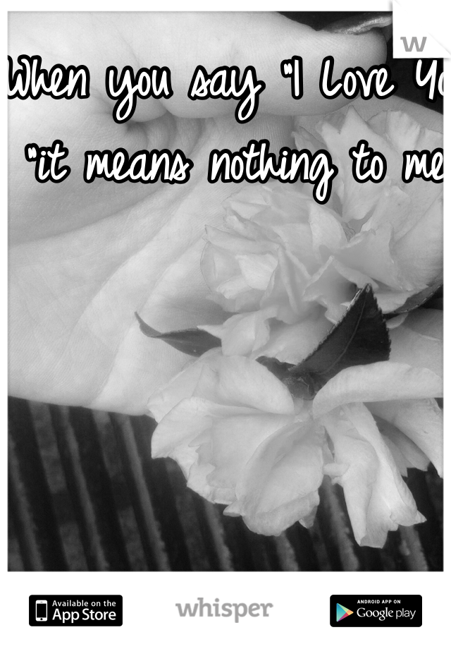 """When you say """"I Love You """"it means nothing to me"""