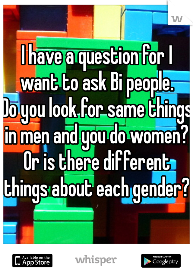 I have a question for I want to ask Bi people.  Do you look for same things in men and you do women?  Or is there different things about each gender?
