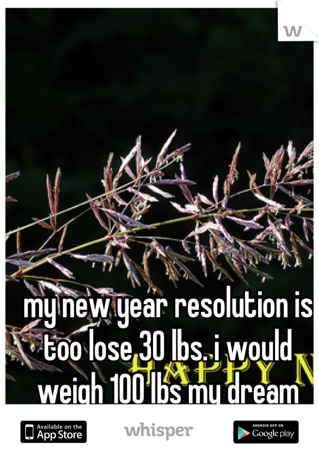 my new year resolution is too lose 30 lbs. i would weigh 100 lbs my dream weight <3