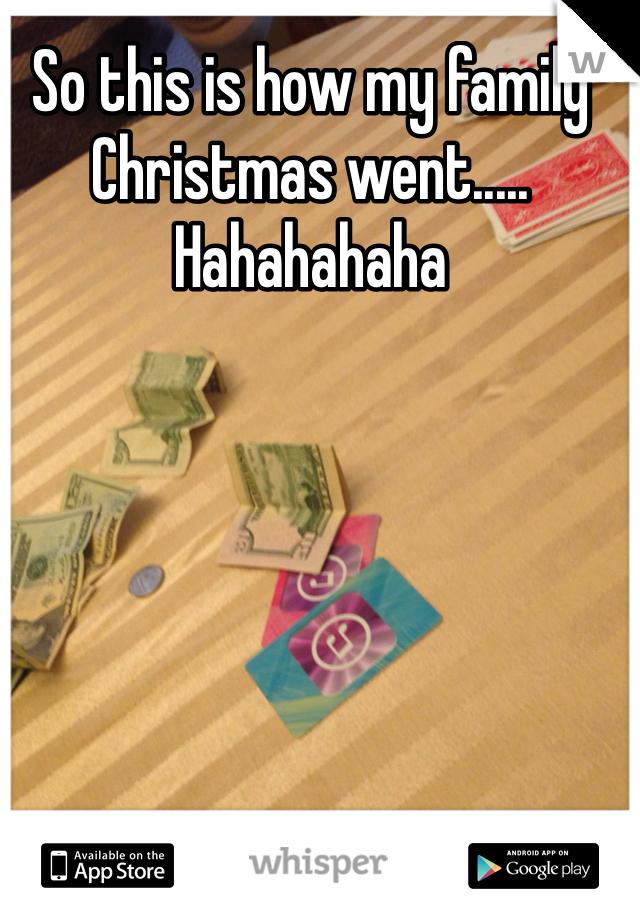 So this is how my family Christmas went..... Hahahahaha
