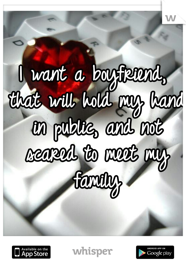 I want a boyfriend, that will hold my hand in public, and not scared to meet my family
