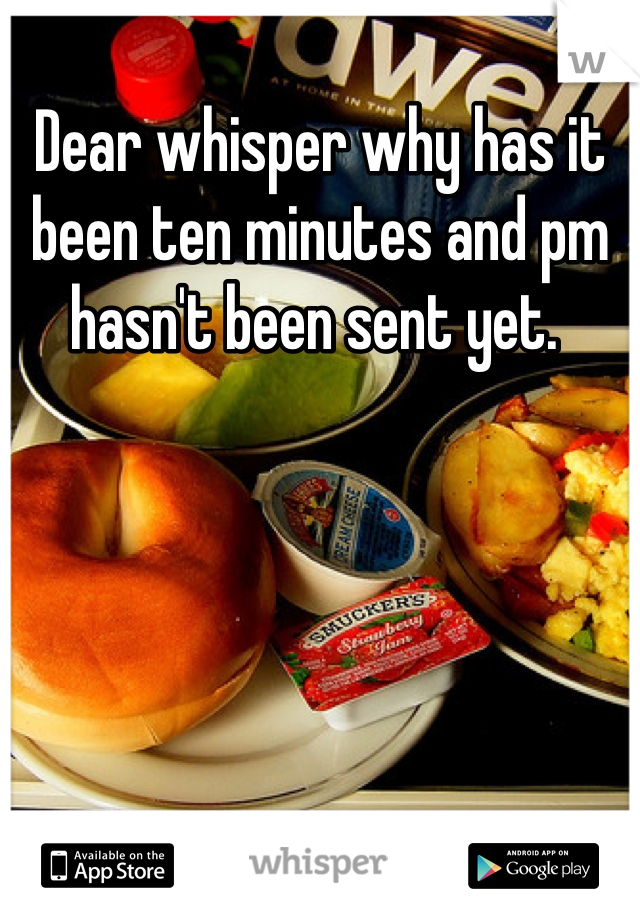 Dear whisper why has it been ten minutes and pm hasn't been sent yet.