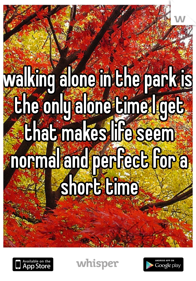 walking alone in the park is the only alone time I get that makes life seem normal and perfect for a short time
