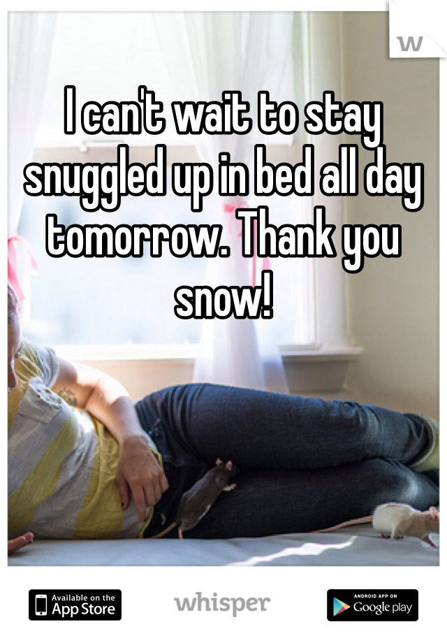 I can't wait to stay snuggled up in bed all day tomorrow. Thank you snow!
