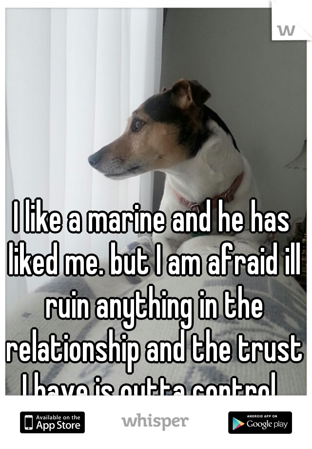 I like a marine and he has liked me. but I am afraid ill ruin anything in the relationship and the trust I have is outta control.