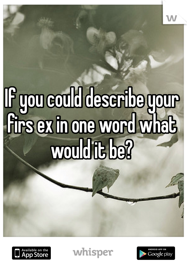 If you could describe your firs ex in one word what would it be?