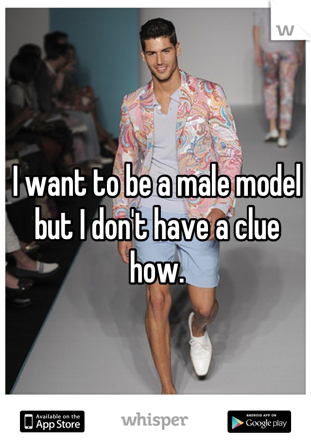 I want to be a male model but I don't have a clue how.