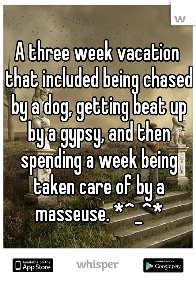 A three week vacation that included being chased by a dog, getting beat up by a gypsy, and then spending a week being taken care of by a masseuse. *^_^*