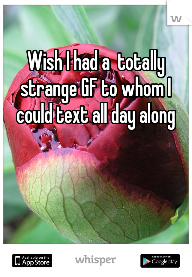 Wish I had a  totally strange GF to whom I could text all day along