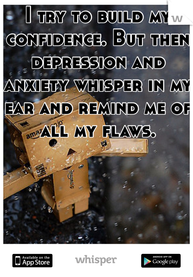 I try to build my confidence. But then depression and anxiety whisper in my ear and remind me of all my flaws.
