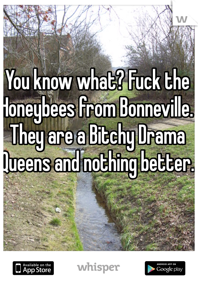 You know what? Fuck the Honeybees from Bonneville. They are a Bitchy Drama Queens and nothing better.