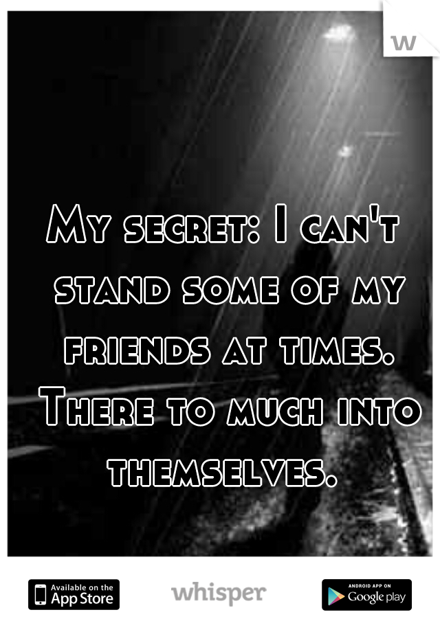 My secret: I can't stand some of my friends at times. There to much into themselves.