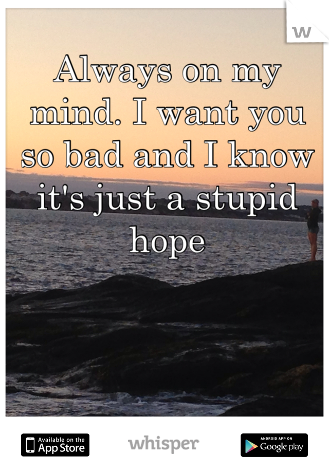Always on my mind. I want you so bad and I know it's just a stupid hope