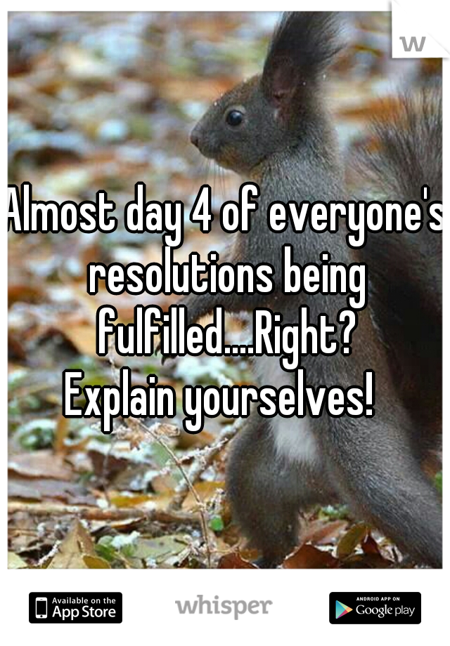 Almost day 4 of everyone's resolutions being fulfilled....Right? Explain yourselves!
