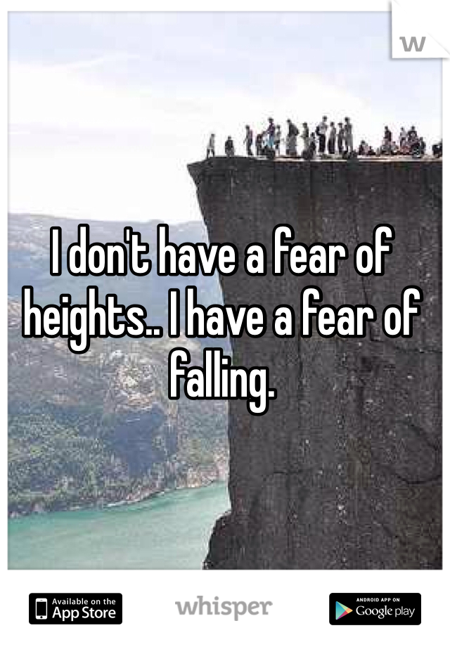 I don't have a fear of heights.. I have a fear of falling.