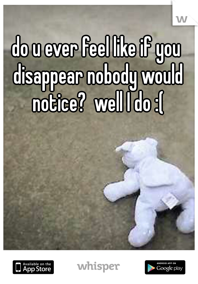 do u ever feel like if you disappear nobody would notice?  well I do :(