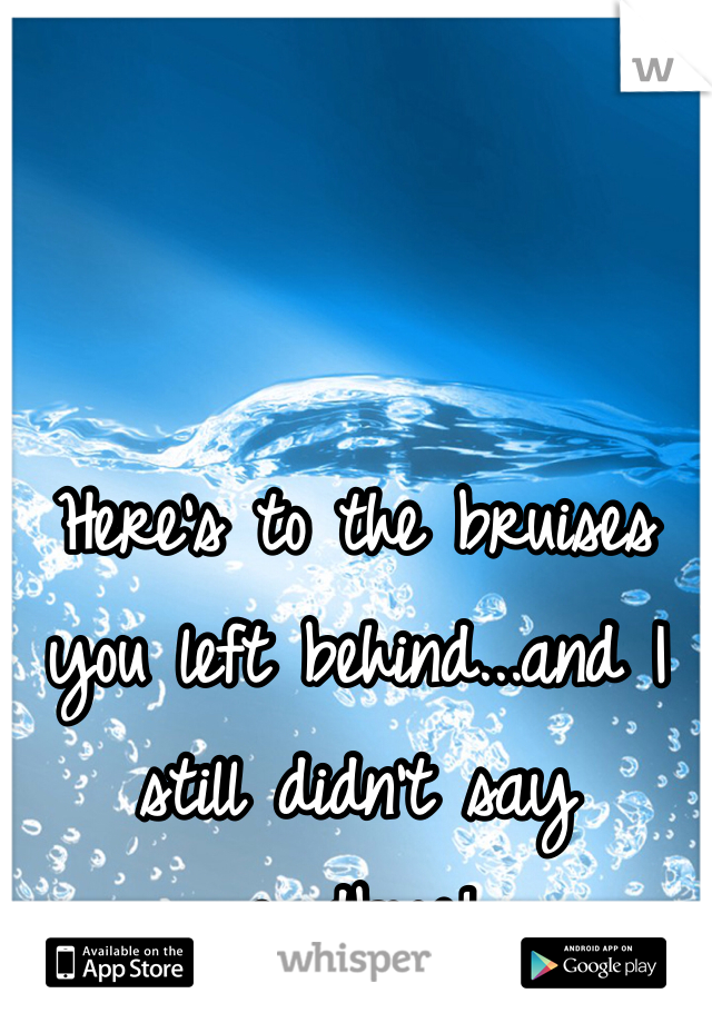 Here's to the bruises you left behind...and I still didn't say goodbye!