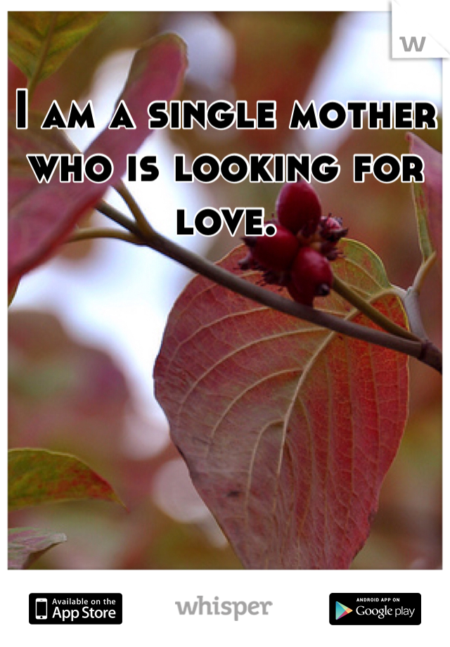 I am a single mother who is looking for love.