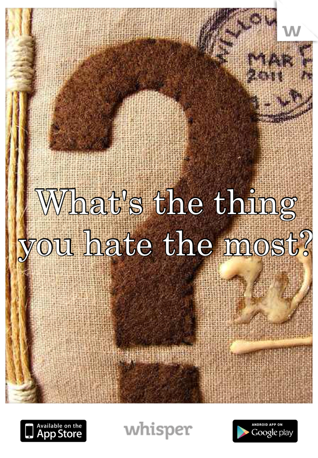 What's the thing you hate the most?