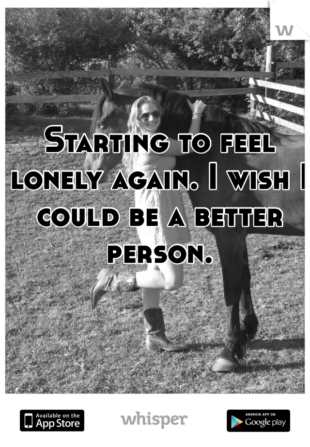 Starting to feel lonely again. I wish I could be a better person.