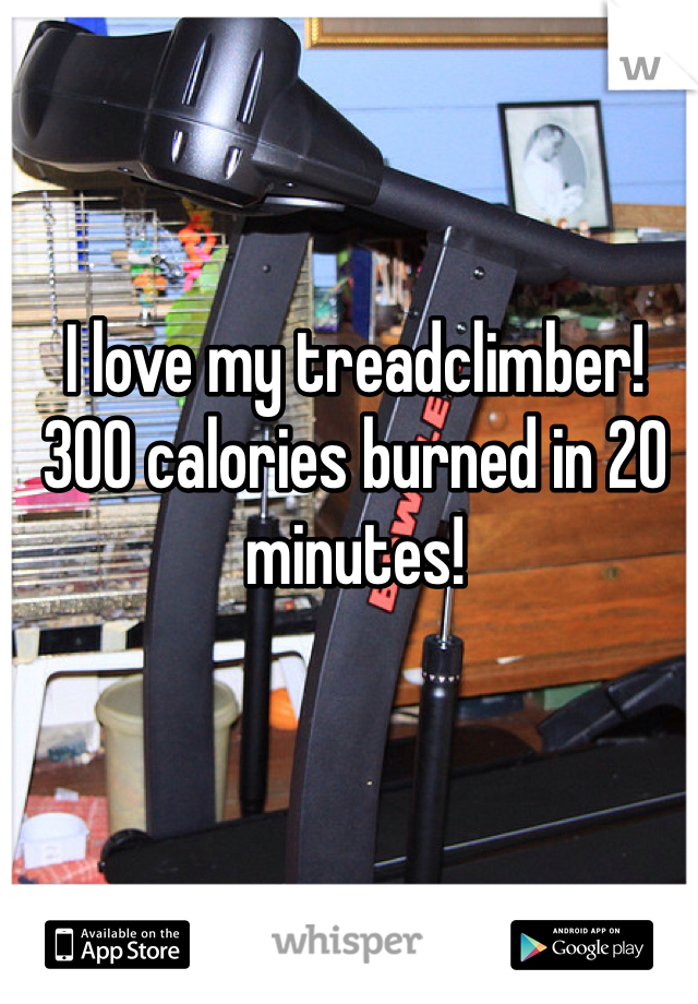 I love my treadclimber! 300 calories burned in 20 minutes!
