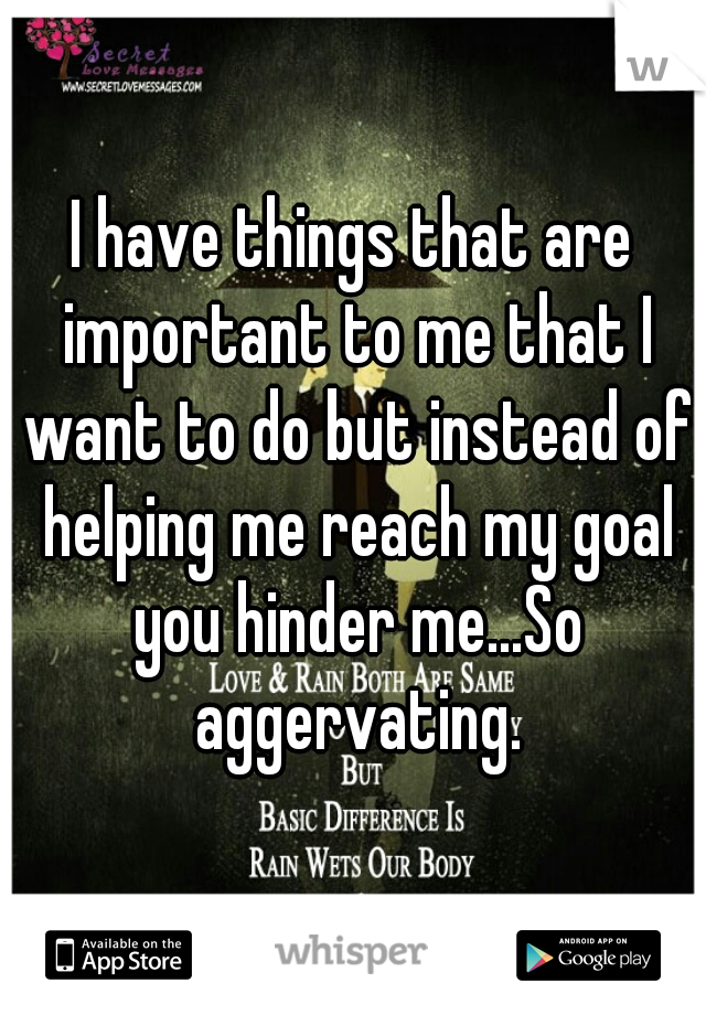 I have things that are important to me that I want to do but instead of helping me reach my goal you hinder me...So aggervating.