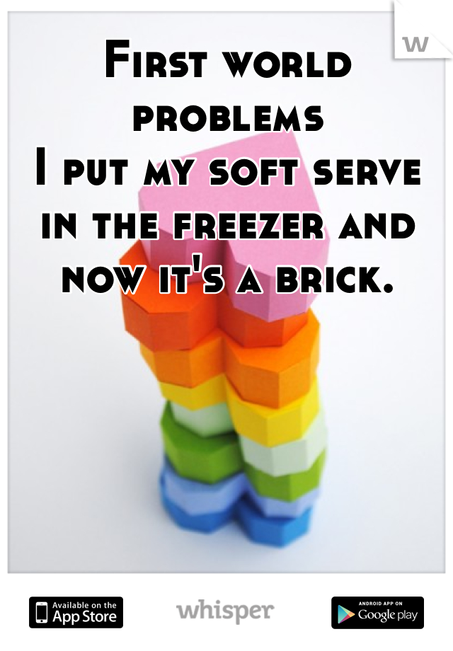 First world problems  I put my soft serve in the freezer and now it's a brick.