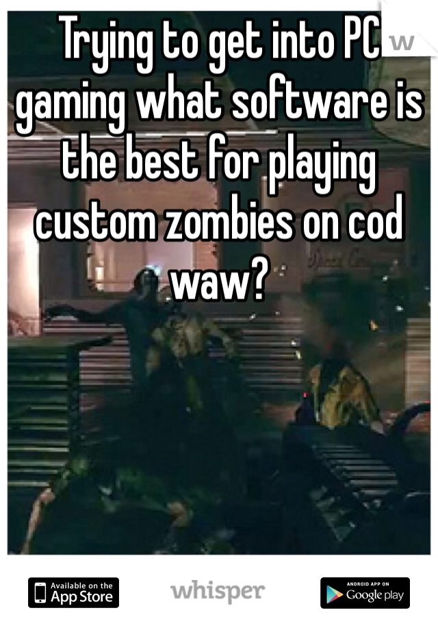 Trying to get into PC gaming what software is the best for playing custom zombies on cod waw?