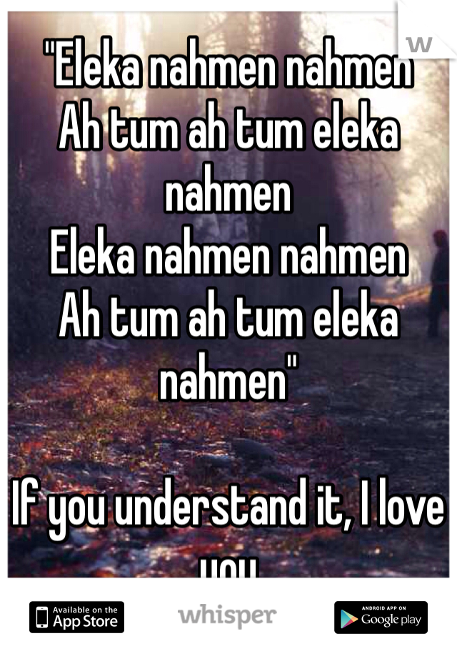 """""""Eleka nahmen nahmen Ah tum ah tum eleka nahmen Eleka nahmen nahmen Ah tum ah tum eleka nahmen""""  If you understand it, I love you"""