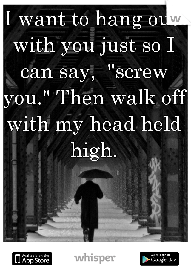 """I want to hang out with you just so I can say,  """"screw you."""" Then walk off with my head held high."""