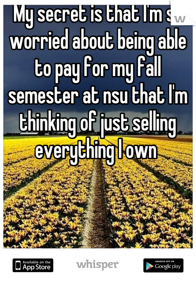 My secret is that I'm so worried about being able to pay for my fall semester at nsu that I'm thinking of just selling everything I own
