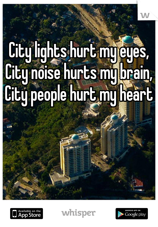 City lights hurt my eyes, City noise hurts my brain, City people hurt my heart