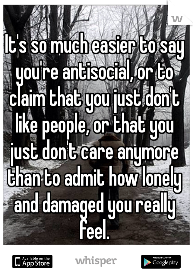 It's so much easier to say you're antisocial, or to claim that you just don't like people, or that you just don't care anymore than to admit how lonely and damaged you really feel.