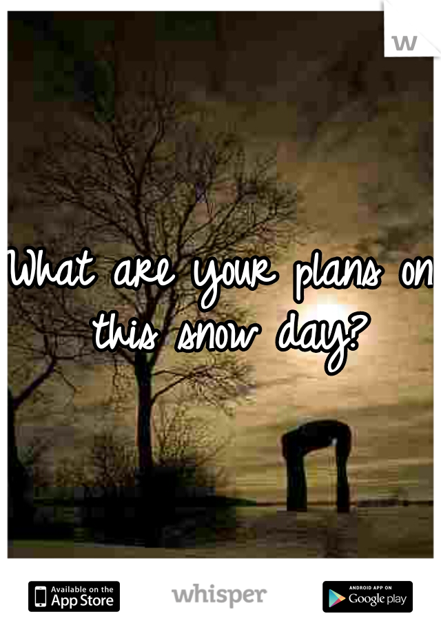 What are your plans on this snow day?